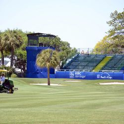 The green on No. 16 gets a fresh cut Tuesday afternoon, April 10, 2012, at Harbour Town Golf Links at Hilton Head Island, S.C. The RBC Heritage golf tournament begins Thursday.