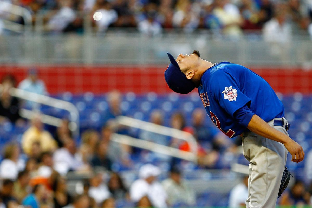 MIAMI, FL - APRIL 18:  Matt Garza #22 of the Chicago Cubs stretches during a game against the Miami Marlins  at Marlins Park on April 18, 2012 in Miami, Florida.  (Photo by Mike Ehrmann/Getty Images)