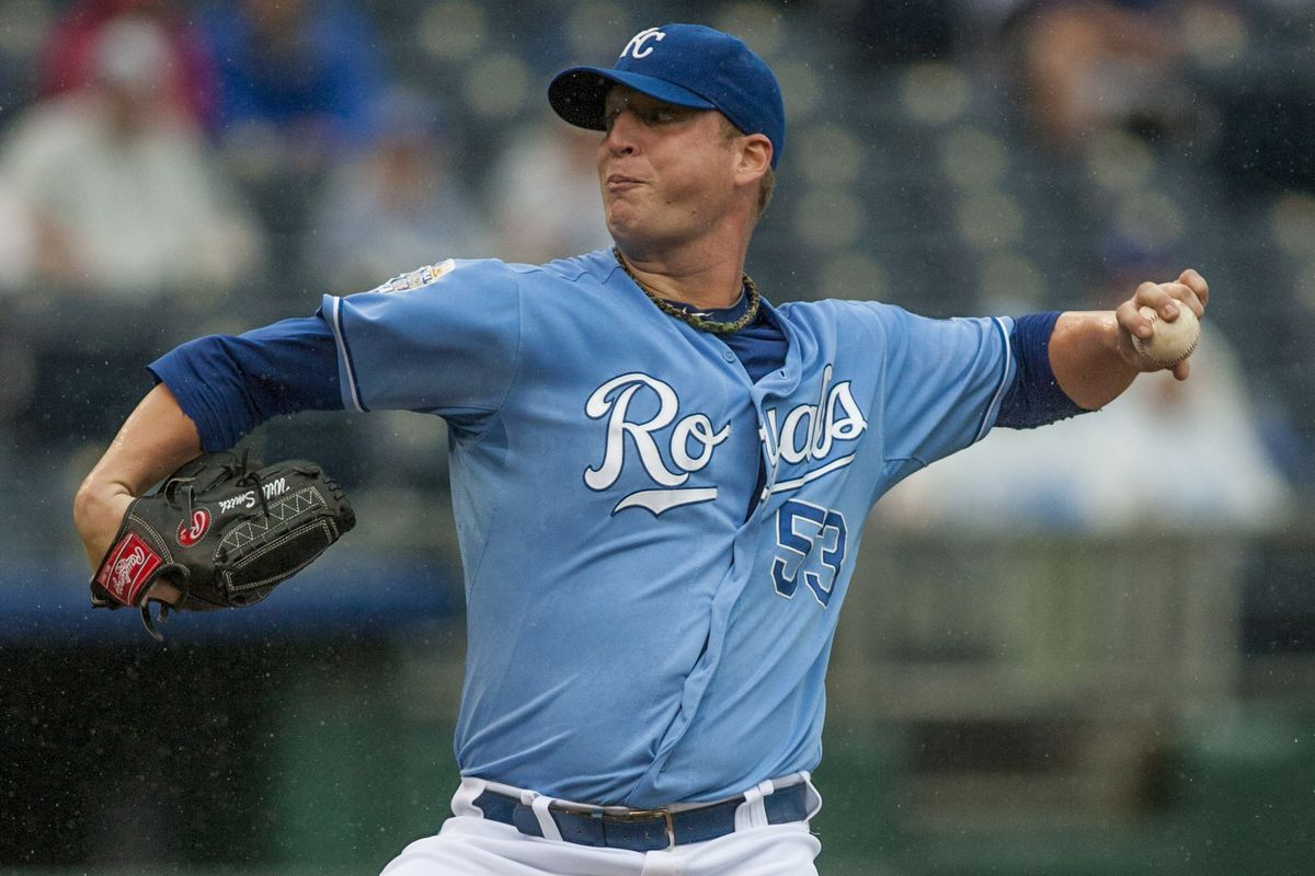 KANSAS CITY, MO - SEPTEMBER 01:  Pitcher Will Smith #53 of the Kansas City Royals pitches against the Minnesota Twins at Kauffman Stadium on September 1, 2012 in Kansas City, Missouri.  (Photo by Tim Umphrey/Getty Images)