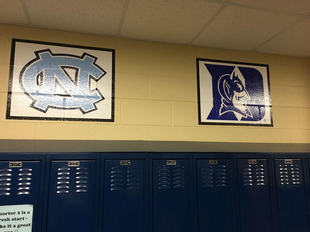 University logos adorn the hallway of KIPP Academy Nashville.