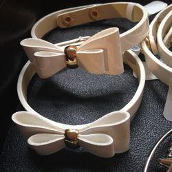 Faux-leather bow bracelet, $5