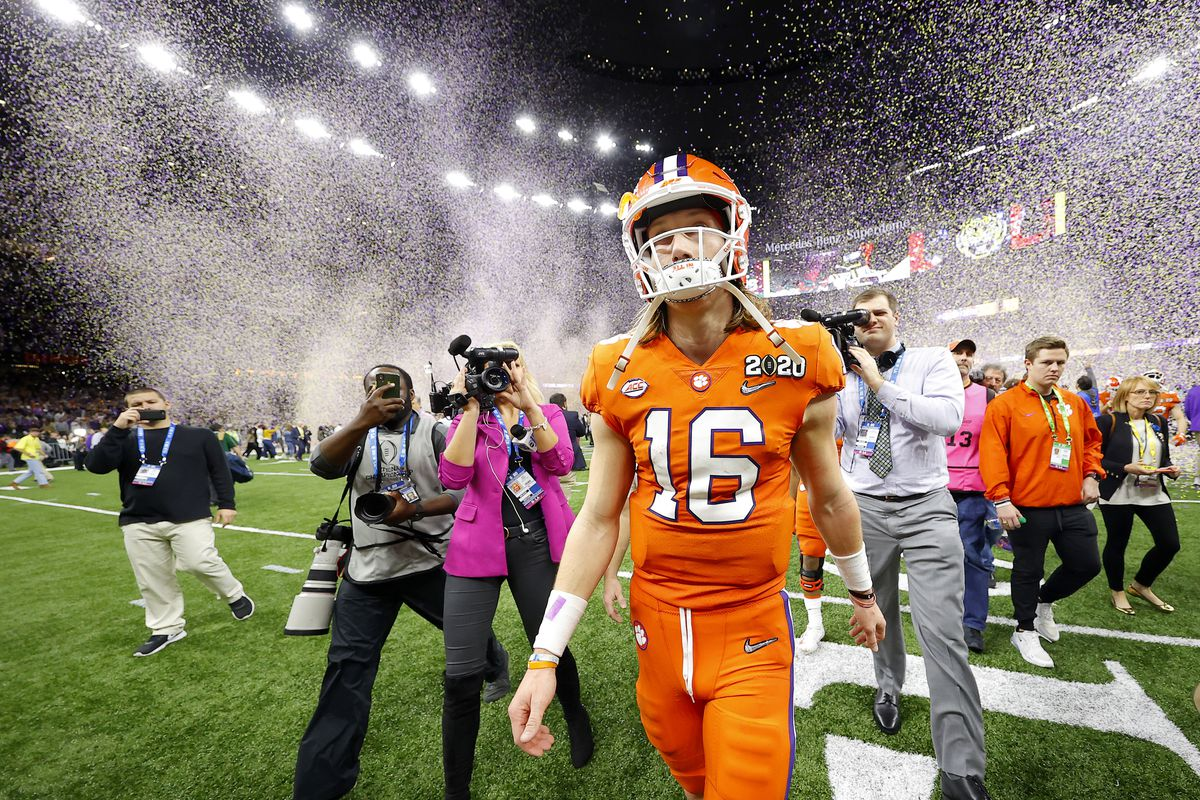 Trevor Lawrence #16 of the Clemson Tigers reacts after being defeated 42-25 by LSU Tigers in the College Football Playoff National Championship game at Mercedes Benz Superdome on January 13, 2020 in New Orleans, Louisiana.