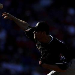 Miami Marlins' Josh Johnson pitches in the first inning of a baseball game against the Philadelphia Phillies, Wednesday, Sept. 12, 2012, in Philadelphia.