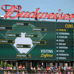 3:20 p.m. Defensive alignment displayed on the right field video board -