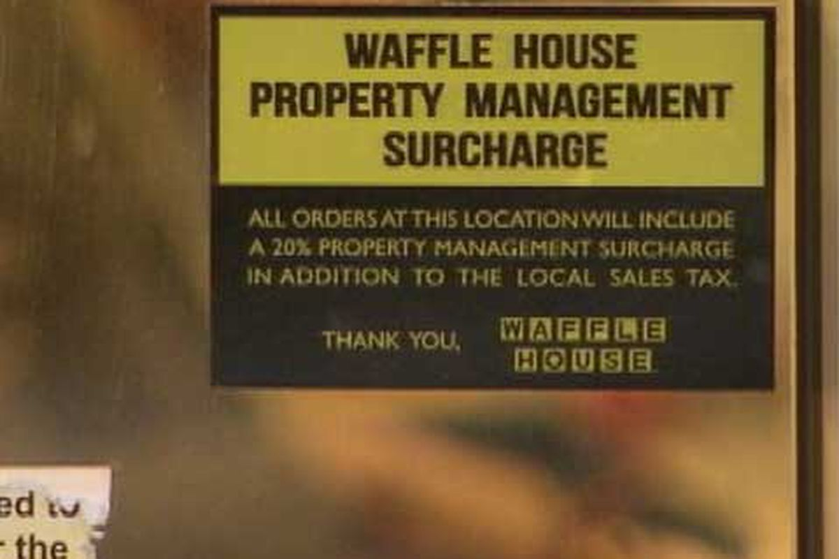 """<a href=""""http://atlanta.eater.com/archives/2013/02/15/five-points-waffle-house-charges-20-protection-fee.php"""">Waffle House</a>."""