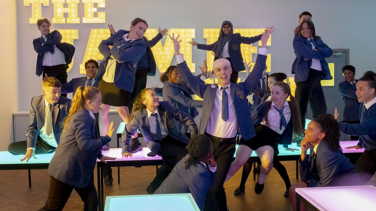 Jamie sings and dances with his class in Everybody's Talking About Jamie