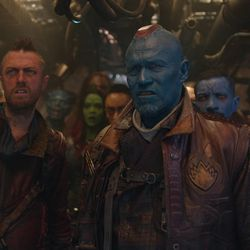 Ravager Crew Member (Sean Gunn), left, and Yondu (Michael Rooker) in Marvel's Guardians of the Galaxy.