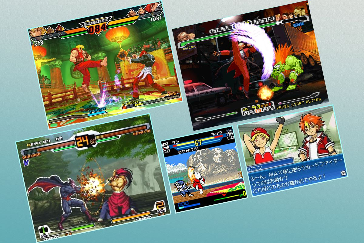Five screenshots show a variety of SNK and Capcom crossover games