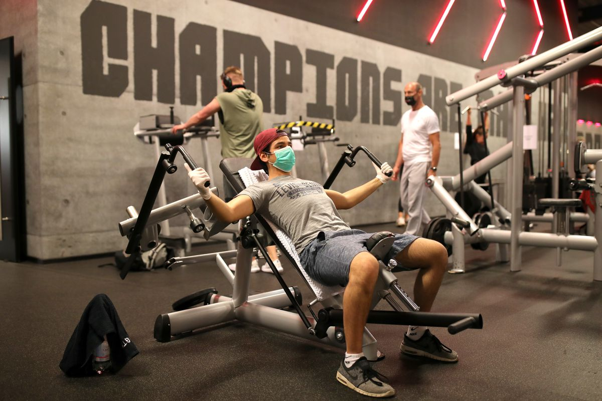 In Chicago, gyms will be open, but you'll need to work out with a face mask. Equipment will either be six feet apart — or, in smaller facilities, separated by clear plastic screens.