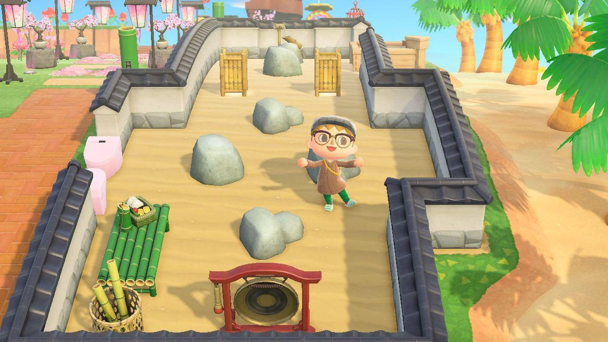 Standing in a rock garden in Animal Crossing: New Horizons