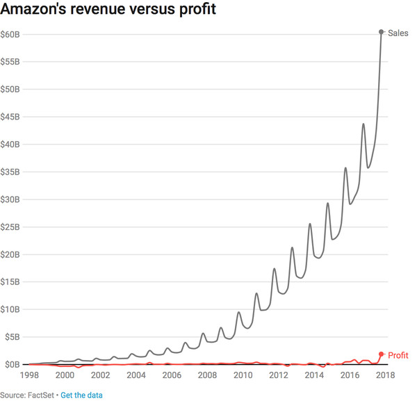 Amazon revenue versus profit
