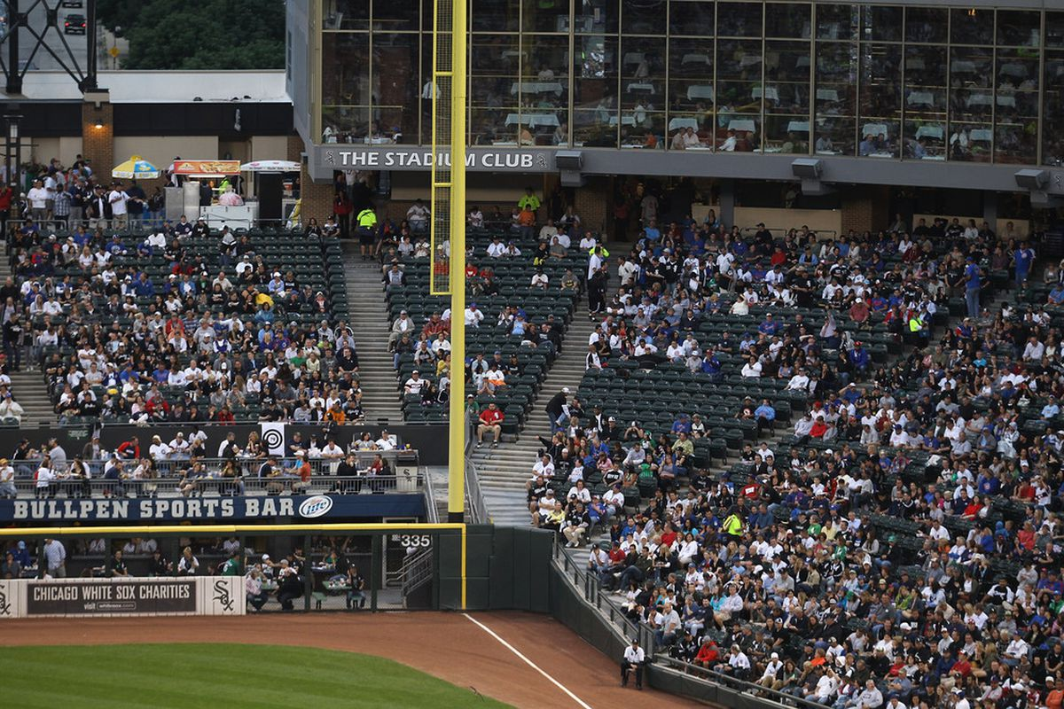Empty seats are seen during a game between the Chicago Cubs and the Chicago White Sox at U.S. Cellular Field on June 22, 2011 in Chicago, Illinois. The White Sox defeated the Cubs 4-3. (Photo by Jonathan Daniel/Getty Images)