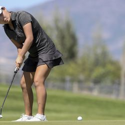 Sunbin Seo watches her putt as she plays Grace Summerhays during the Utah Women's State Amateur at the Soldier Hollow Golf Course in Midway on Wednesday, July 15, 2020.