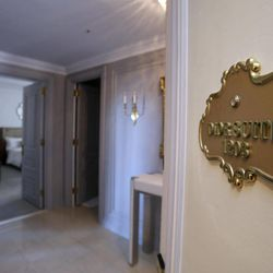 A plaque adorns the door of the Dior Suite in New York's St. Regis Hotel,  Wednesday, March 14, 2012. A century after the Titanic sank, the legacy of the ship's wealthiest and most famous passenger, John Jacob Astor, quietly lives on at the luxury hotel he built in New York City.