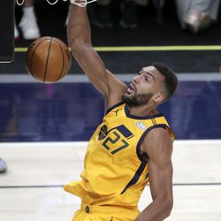 Utah Jazz center Rudy Gobert (27) dunks the ball during an NBA game against the San Antonio Spurs at the Vivint Smart Home Arena in Salt Lake City on Monday, May 3, 2021. The Jazz won 110-99.