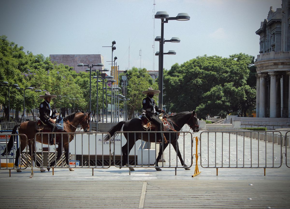 Mexican police wearing face masks ride horses across a street in mexico city