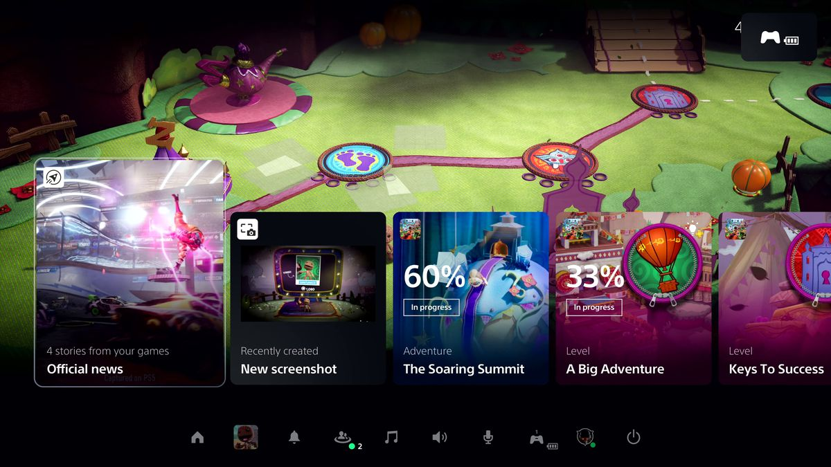 PlayStation 5 dashboard's Control Center with Activity cards