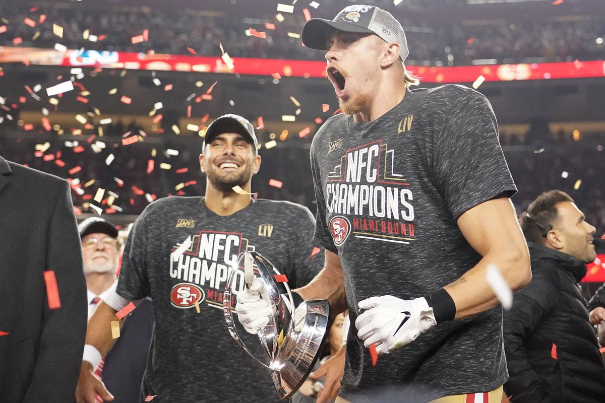 Jan 19, 2020; Santa Clara, California, USA; San Francisco 49ers quarterback Jimmy Garoppolo (left) and tight end George Kittle (right) celebrate after defeating the Green Bay Packers in the NFC Championship Game at Levi's Stadium.