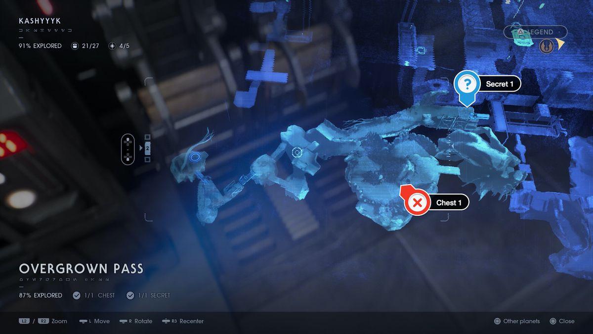 Star Wars Jedi Fallen Order Kashyyyk Overgrown Pass chests and secrets locations map