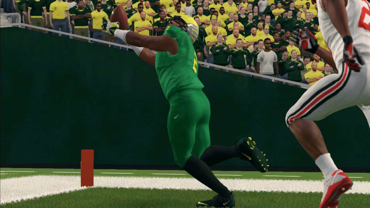 oregon ducks wide receiver makes great catch in endzone against ohio state buckeyes in 2020 virtual season