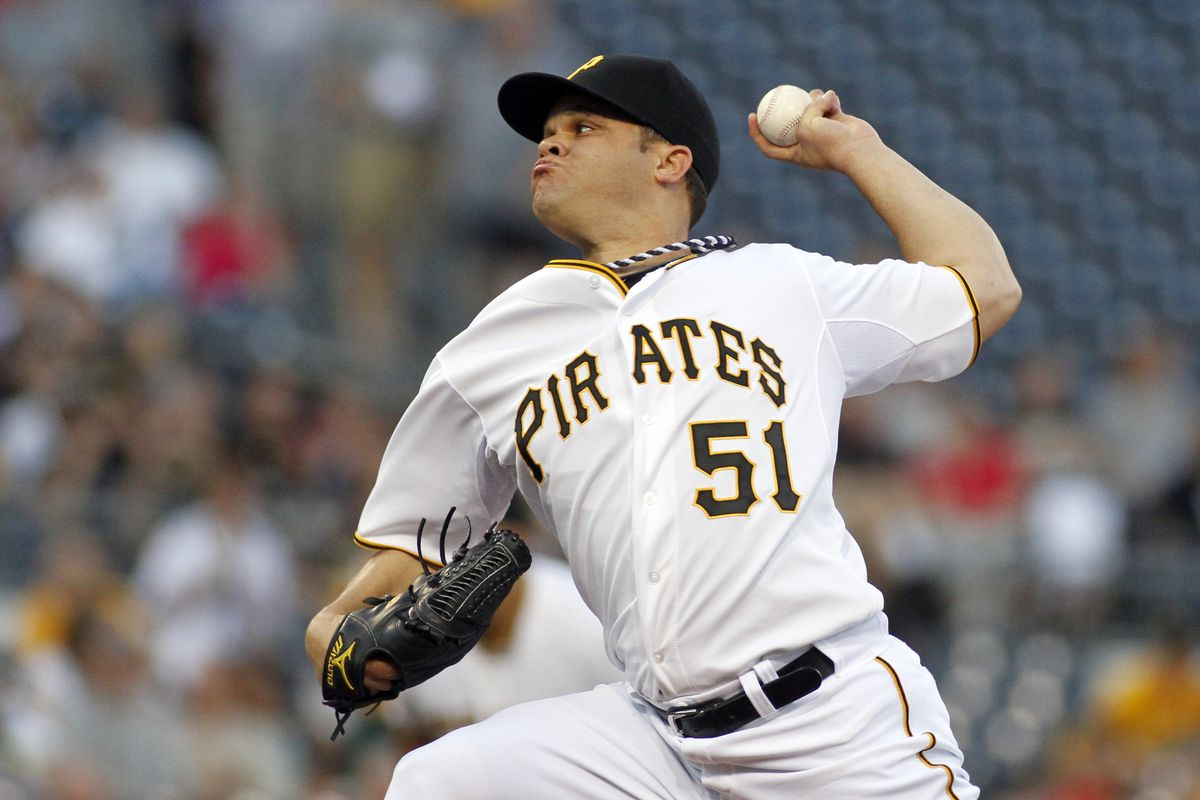 PITTSBURGH, PA - AUGUST 29:  Wandy Rodriguez #51 of the Pittsburgh Pirates pitches against the St. Louis Cardinals during the game on August 29, 2012 at PNC Park in Pittsburgh, Pennsylvania.  (Photo by Justin K. Aller/Getty Images)