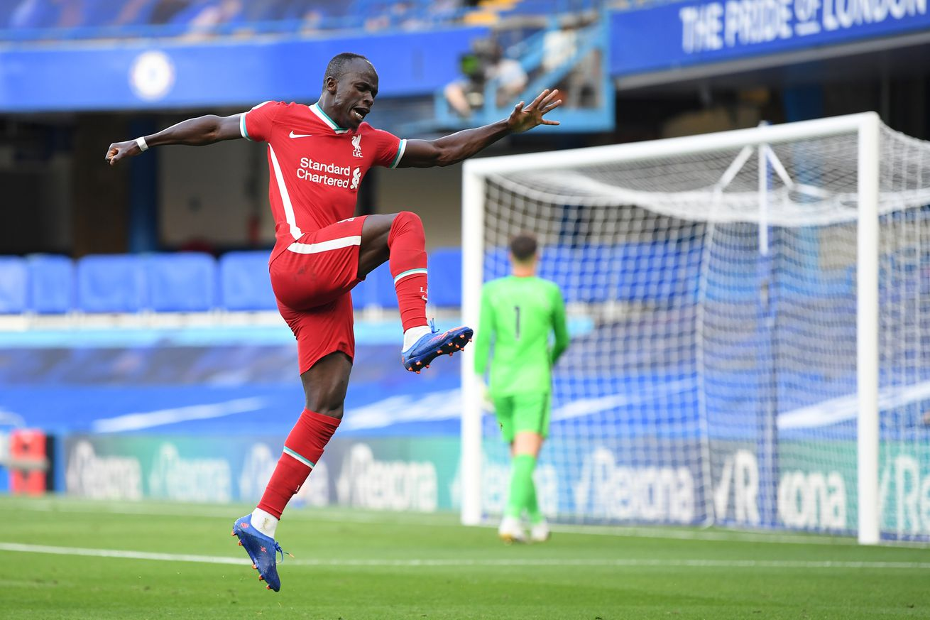 Chelsea v Liverpool - Premier League - Mané celebrates scoring in the Sunday fixture, leaping into the air
