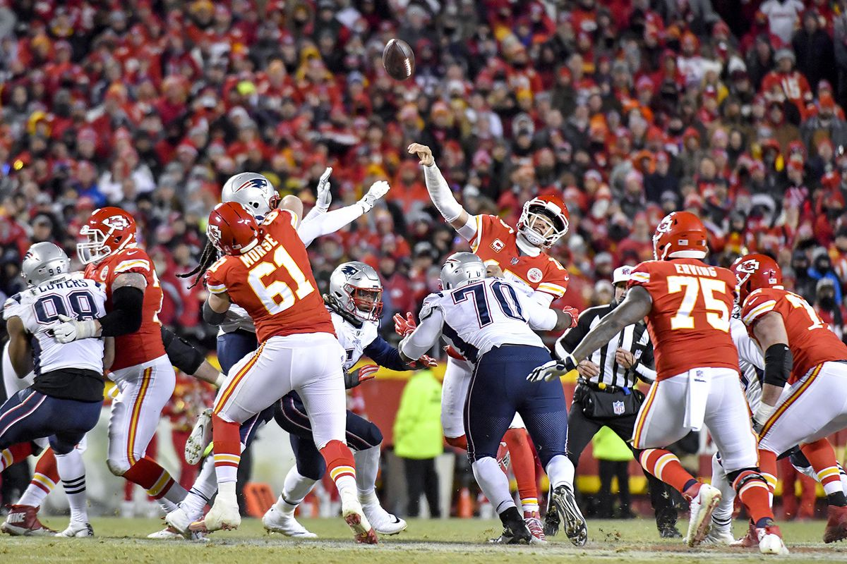 Kansas City Chiefs quarterback Patrick Mahomes throws deep to wide receiver Sammy Watkins late in the fourth quarter against the New England Patriots during the AFC Championship game on Sunday, Jan. 20, 2019 at Arrowhead Stadium in Kansas City, Mo.