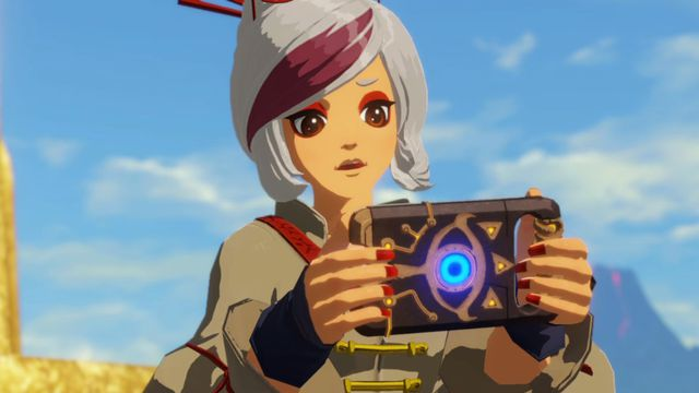 Purah use the Sheikah Slate in Hyrule Warriors: Age of Calamity