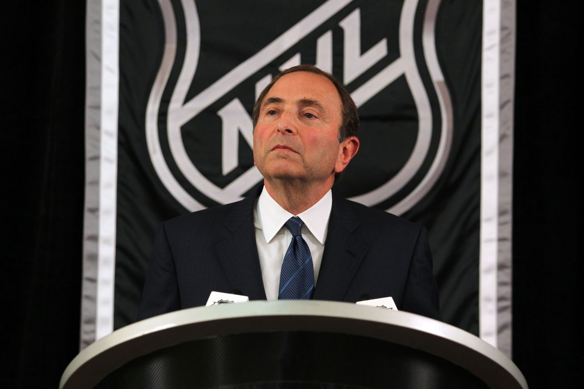 September 13, 2012; New York, NY, USA; NHL commissioner Gary Bettman speaks during a press conference at the Crowne Plaza Times Square. Mandatory Credit: Brad Penner-US PRESSWIRE