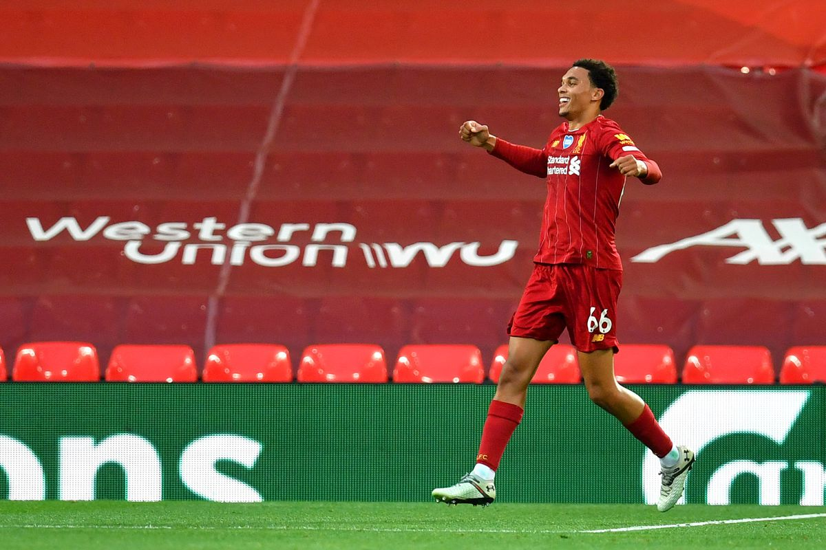 Trent Alexander-Arnold of Liverpool celebrates after scoring his team's second goal during the Premier League match between Liverpool FC and Chelsea FC at Anfield on July 22, 2020