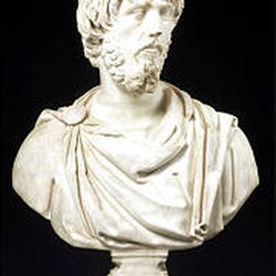 """""""Portrait of a bearded man,"""" 161-167 B.C. (marble, 33 5/8 inches)."""