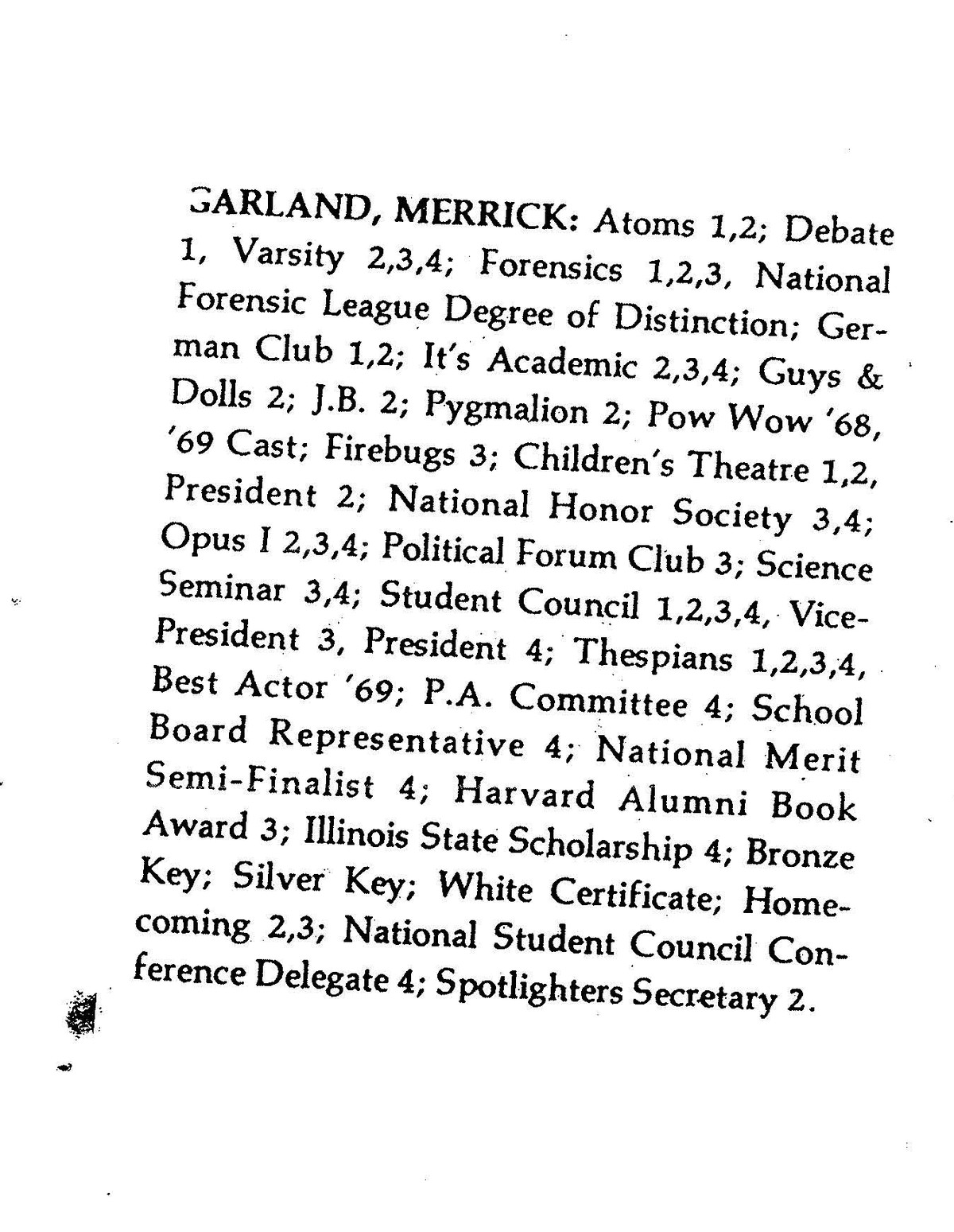 Merrick Garland was quite active at Niles West, according to his yearbook | Courtesy Niles West
