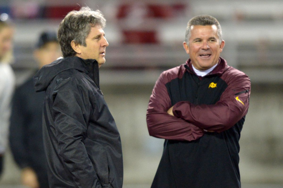 @CoachGrahamASU and @Coach_Leach before last year's match-up in Pullman