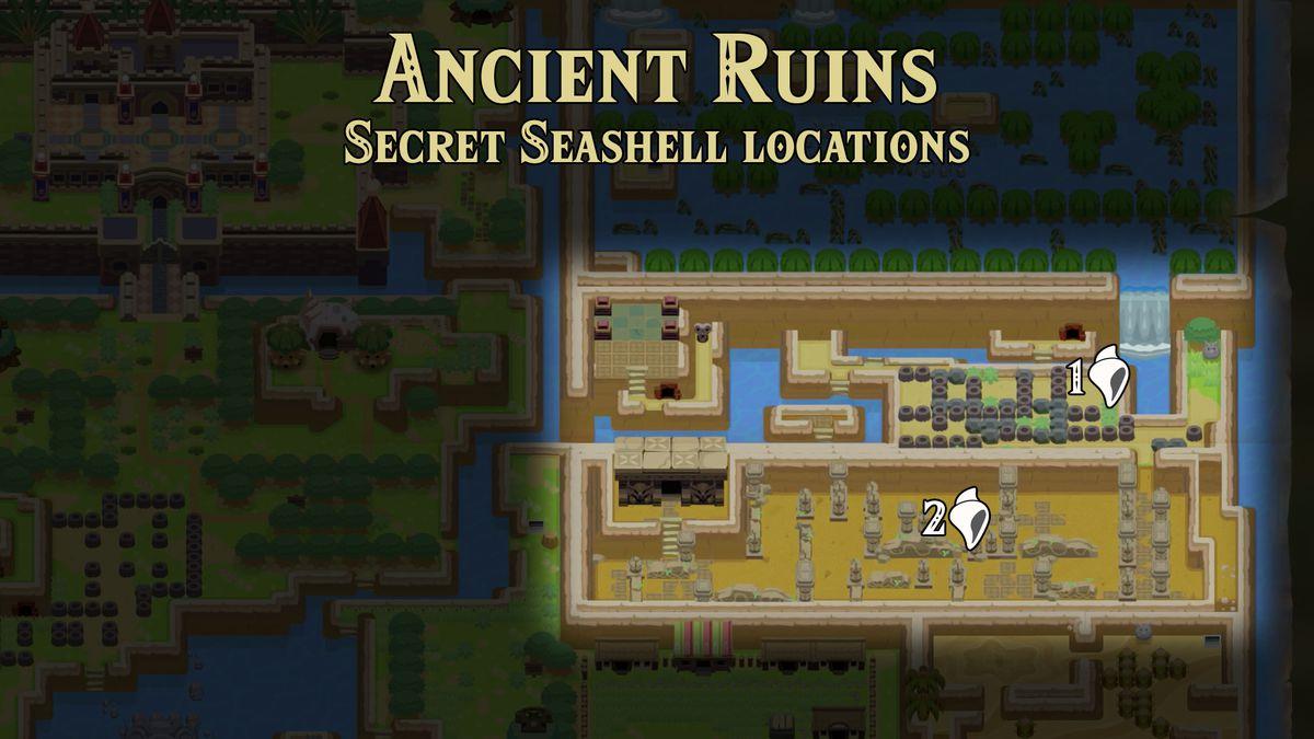 Link's Awakening Ancient Ruins Secret Seashells locations map