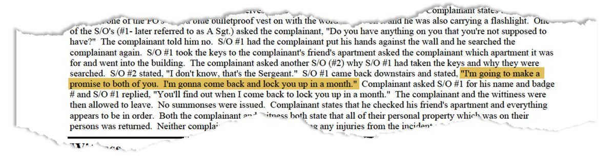 A summary of Maurice Phillips and Carlos Ortiz's CCRB complaint. (Highlight added by ProPublica.)