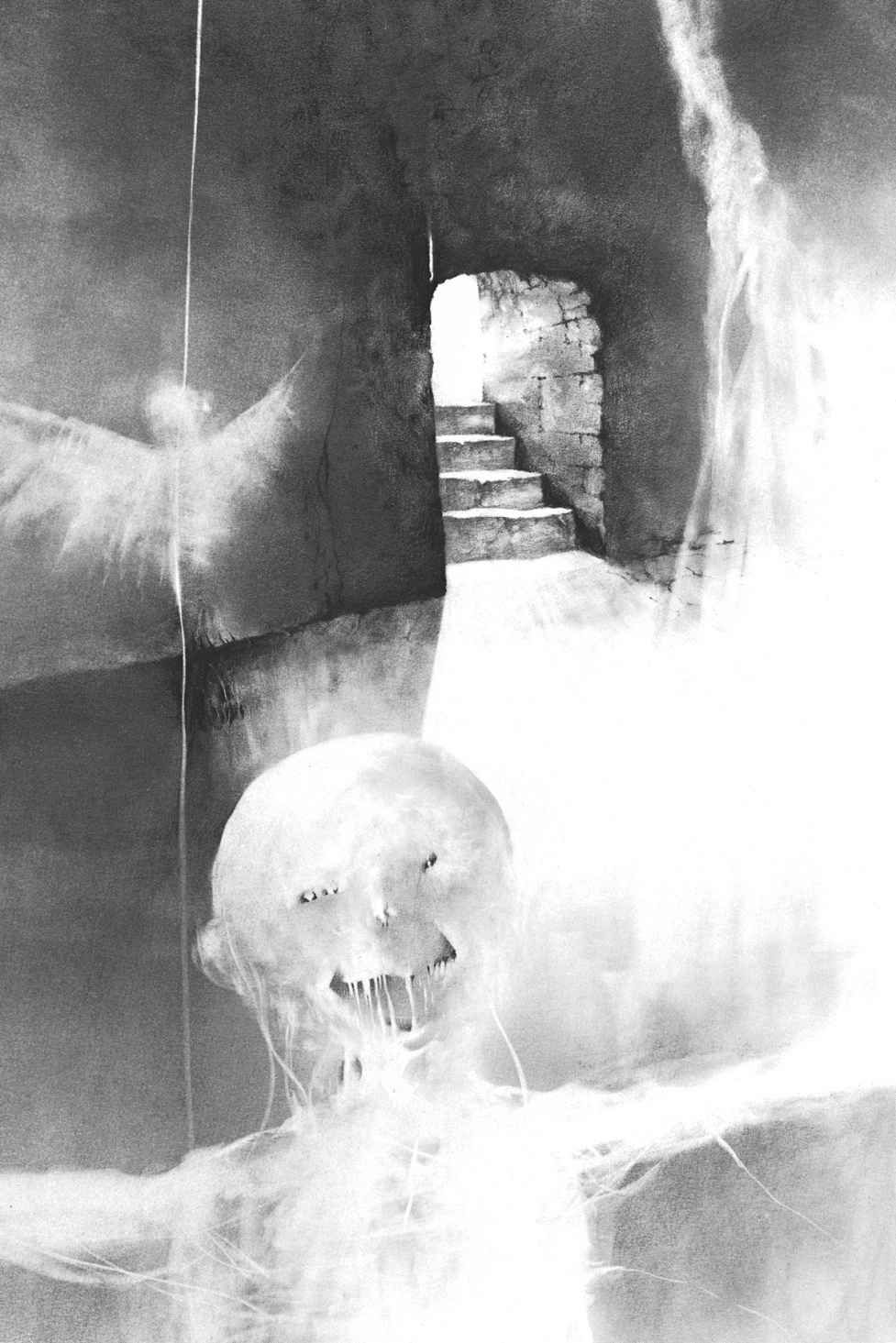 a black and white illustration of a dungeon, with an eerie all white figure with small eyes and a toothy smile in its bulbous head reaching for the viewer