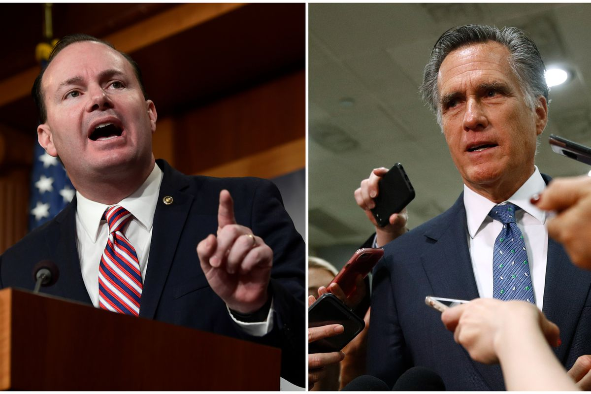 Sen. Mike Lee, R-Utah, left, speaks during a news conference on Capitol Hill in Washington, Wednesday, Dec. 19, 2018, while Sen. Mitt Romney, R-Utah, right, speaks to reporters in Washington on Saturday, May 21, 2019, in this composite image.
