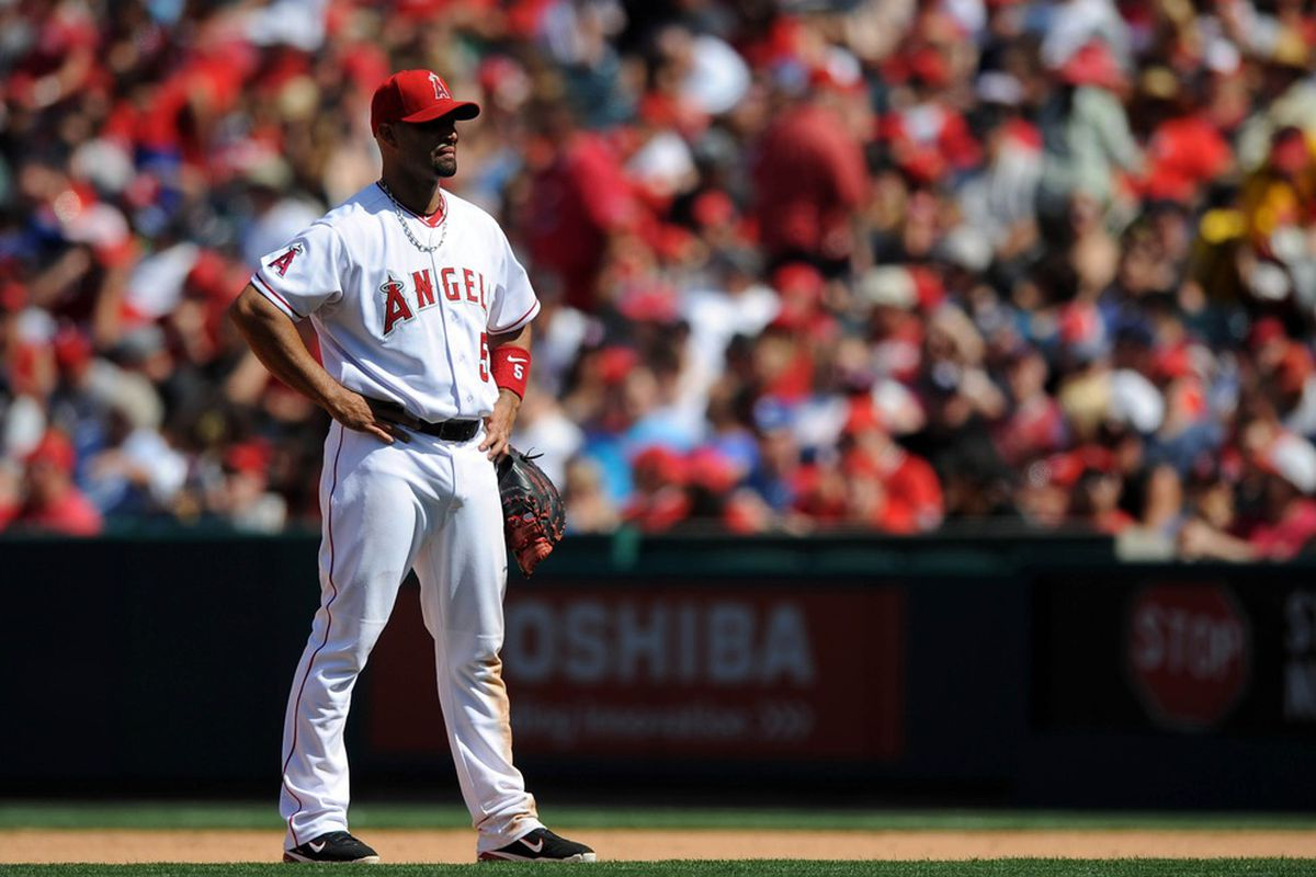 Apr 7, 2012; Anaheim, CA, USA; Los Angeles Angels first baseman Albert Pujols (5) during a pitching change against the Kansas City Royals during the seventh inning at Angel Stadium of Anaheim. Mandatory Credit: Kelvin Kuo-US PRESSWIRE
