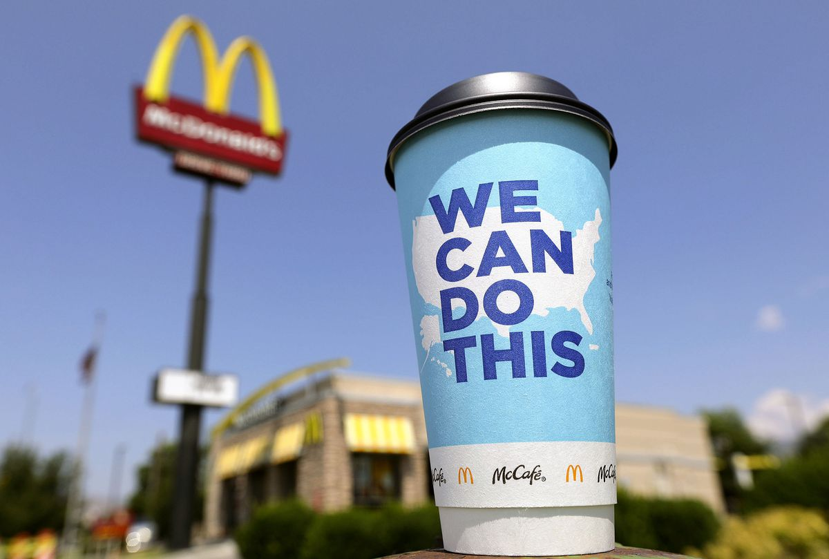 A McDonald's coffee cup with a pro-vaccine message on it is pictured in Salt Lake City on Thursday, Aug. 5, 2021.