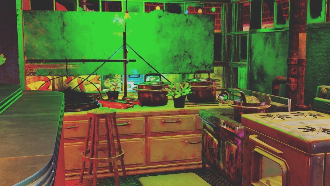 Fallout 76 - the inside of a taco truck, showing stoves and other kitchen appliances