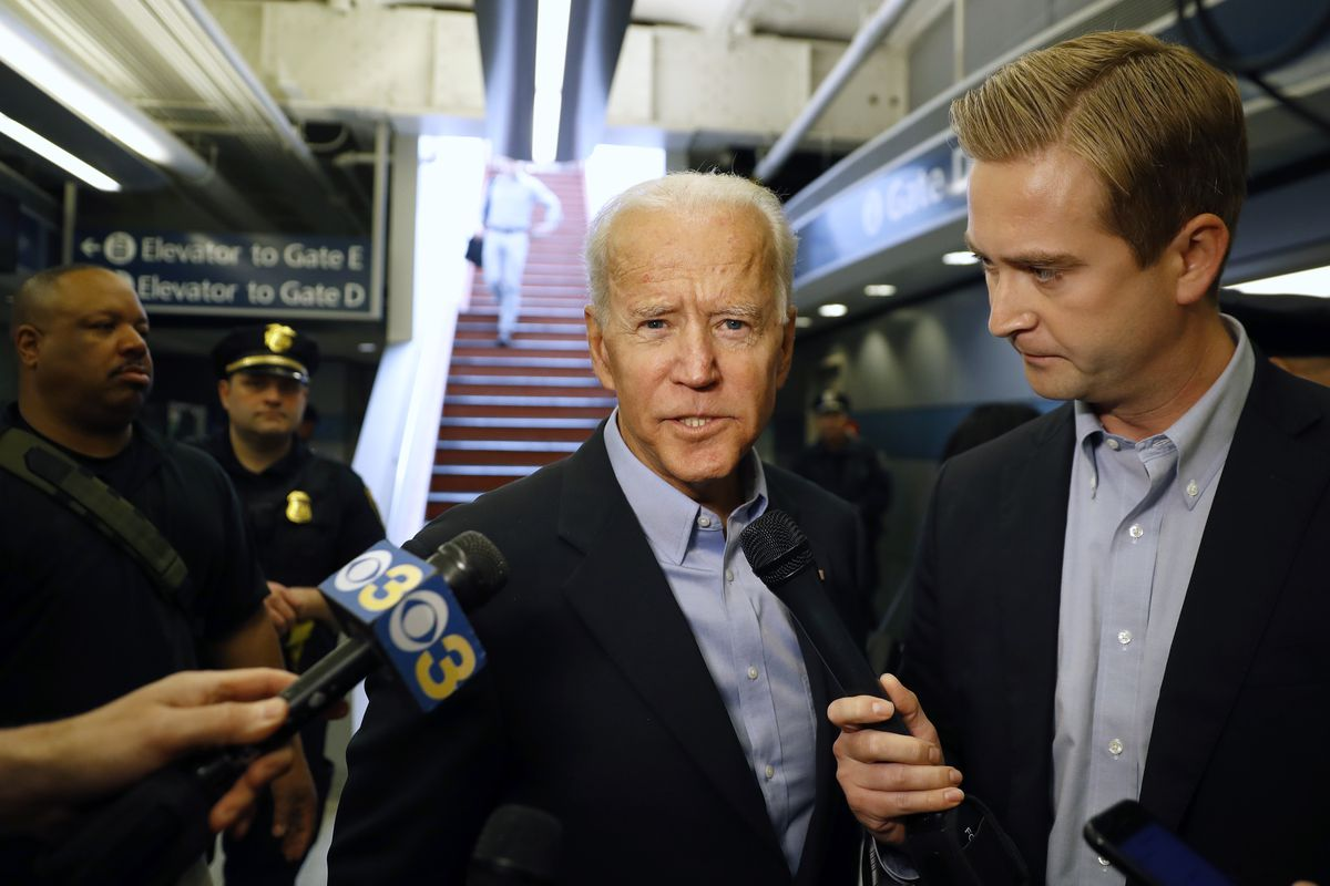 FILE - Former Vice President and Democratic presidential candidate Joe Biden arrives at the Wilmington train station Thursday April 25, 2019 in Wilmington, Delaware. Biden announced his candidacy for president via video on Thursday morning.