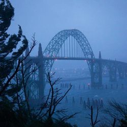 This Jan. 18, 2012, photo shows the Yaquina Bay Bridge, Newport, Ore. A woman who appealed for money online to help care for her autistic son and disabled husband has been accused of throwing her 6-year-old boy to his death off the historic bridge on Monday, Nov. 3, 2014.