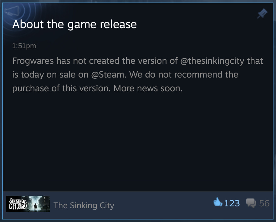 a screenshot of a Steam post from Frogwares telling people not to buy the game.