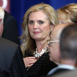 In this March 19, 2012 file photo, Ann Romney, wife of Republican presidential candidate, former Massachusetts Gov. Mitt Romney talks with audience members after her husbands spoke at the University of Chicago, in Chicago.