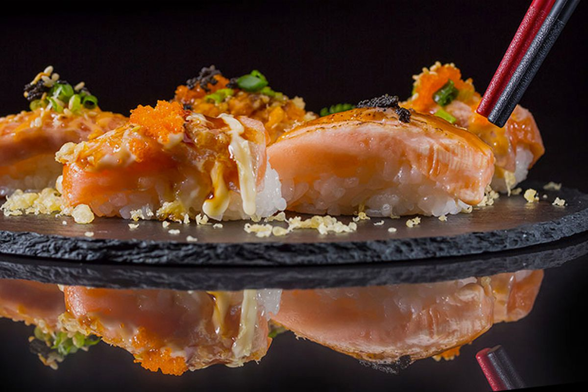 A plate of sushi from the new small plates menu at Takumi Izakaya in the southwest.