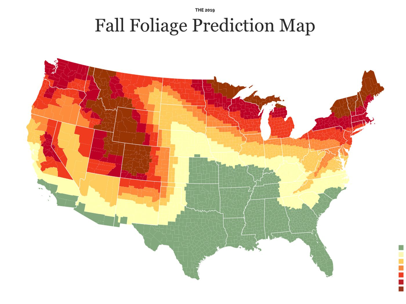 Fall colors 2019 map: when and where autumn foliage will ... on canada vegetation map, canada smoke map, canada snow map, canada forest map, canada soil map, canada white map, canada weather map, canada landscape map, canada water map, canada animals map, canada blank map, canada tropical map, canada hardiness map, canada beach map, canada green map, canada terrain map, canada fall map, canada fire map, canada geological features map, canada mountains map,