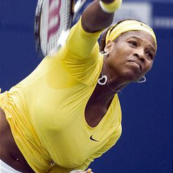 Serena Williams, of the United States, serves during her loss to Elena Dementieva, of Russia, in semifinal Rogers Cup tennis action in Toronto on Saturday.