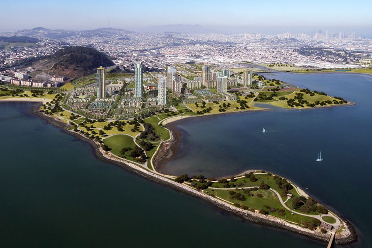 A rendering of homes at Candlestick Point, a peninsula jutting into the San Francisco Bay.
