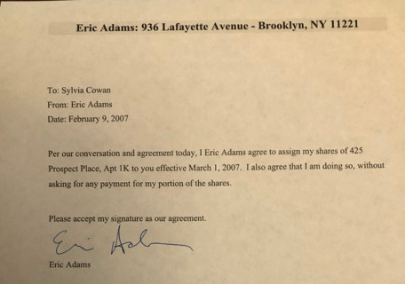 The letter Eric Adams says shows that he turned over his shares in a Brooklyn co-op — for free — in 2007.