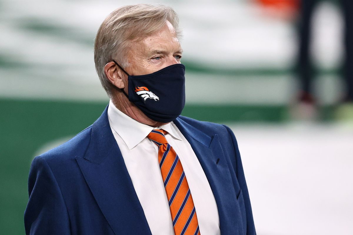 Denver Broncos President of Football Operations/General Manager John Elway looks on during warm ups against the New York Jets at MetLife Stadium on October 01, 2020 in East Rutherford, New Jersey.